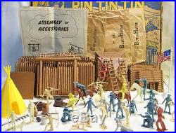 Vintage Marx Rin Tin Tin Fort Apache Play Set Htf Key Pieces Parts Bags 35 Pics