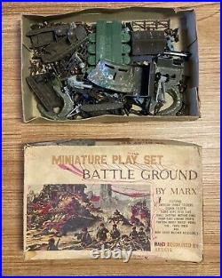 VINTAGE & RARE Marx HO Miniature Play Set Battle Ground withHAND PAINTED Soldiers