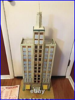 Very Rare 1950's Marx Skyscraper Building Tin Toy Playset with Accessories