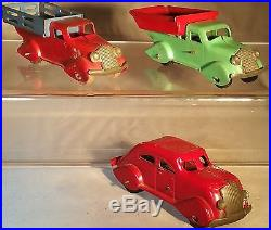 Very Rare Marx Pressed Steel Used Car Lot with Windup Airflow, Dump & Stake Trucks