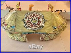 Vintage 1950's MARX SUPER CIRCUS Play Set with Tent, Side Show, Characters, Box