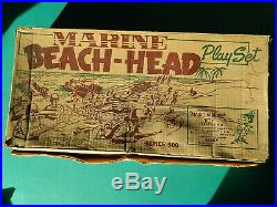 Vintage 1950's Marine Beach-Head Play Set Toy #4731 Series 500 Marx with Box