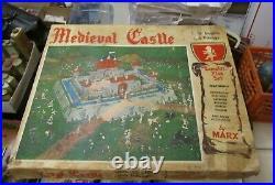 Vintage 1950's Marx Medieval Castle Playset 4707 with Knights Vikings Metal Toy