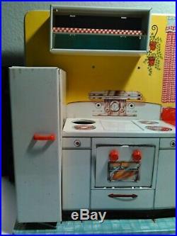 Vintage 1950's Marx Modern Metal/Tin Kitchen Set & Accessories with Original Box