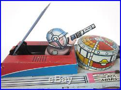 Vintage 1950's Marx-Rex Mars Planet Patrol Wind-Up Sparking Tin Space Tank WORKS