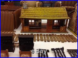 Vintage 1950's Marx Tin Litho Bar-m-ranch Cabin Play Set With Accessories