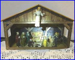 Vintage 1950'sMARX Tin Nativity Set Manger Christmas Decor Toy Figures Holiday