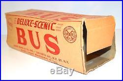 Vintage 1950s Marx Deluxe Scenic Bus Plastic Playset Truck & Original Box School