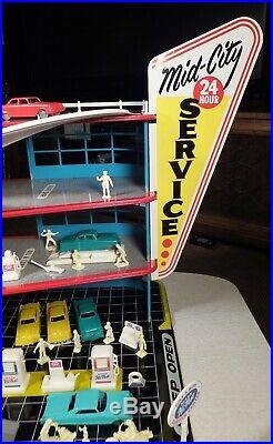 Vintage 1960's MARX Tin 4 LEVEL PARKING GARAGE Play Set Toy NOS Unused COMPLETE