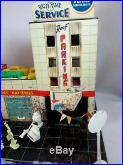 Vintage 1960's Marx Sears Allstate Happi Time tin service gas station garage set