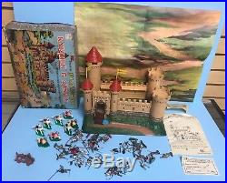 Vintage 1960s Marx Miniature Knights & Castle Medieval Playset in Original Box