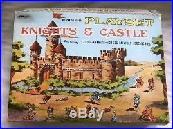 Vintage 1960s Marx Miniature Playset Knights & Castle with Box & Play Mat L@@K jf