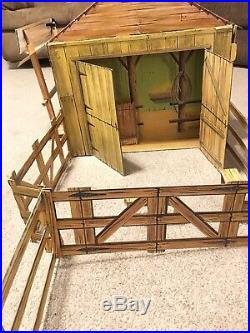 Vintage 1966 Johnny West Circle X Ranch By Marx Cardboard Play Set Nice Shape