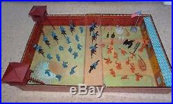 Vintage 1968 Marx Fort Apache Carry All Tin Playset With 50 + Pcs. Excellent