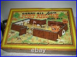 Vintage 1968 Marx Fort Apache Tin Carry All Set and Accessories 4685