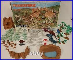 Vintage 1971 Marx Prehistoric Dinosaur Cavemen Play Set #3398 In Original Box
