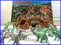 Vintage 1971 Marx Prehistoric Dinosaurs Play Set #3398 Original Box with Manual