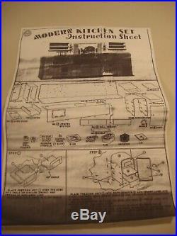Vintage 50's Louis Marx Modern Kitchen Set With Original Box 100% COMPLETE