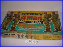 Vintage 60's Marx Stony 4-Man Combat Team GI Poseable Action Soldier Playset