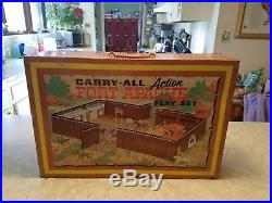 Vintage Cowboy Indian Toy 1968 Marx Metal Carry All Fort Apache Play Set 4685