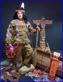 Vintage Geyperman Indian Warrior & Canoe Marx Totem Action Man Figure GI Joe