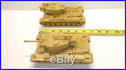 Vintage Lot of (2) Tim-Mee Marx Army Toy 6 Tanks 1970s Great Condition