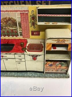 Vintage Louis Marx 1950's Modern Kitchen Play Set w Original Box Incomplete