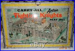 Vintage Louis Marx 1968 Carry-All Action Fighting Knights Playset Tin Case #4635