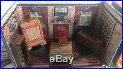 Vintage Louis Marx Honeymoon 5 Rooms With Furniture Tin Litho Playset Circa 1930