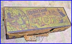 Vintage Louis Marx ROBIN HOOD CASTLE PLAYSET withBox, Tin Litho Castle, Catapults