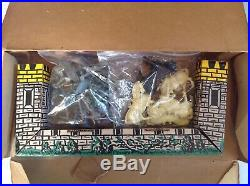 Vintage MARX Medieval Play Set plastic toy knights and steads, used, unpainted