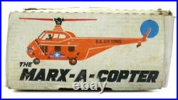 Vintage Marx-A-Copter USAF Sikorsky Helicopter Vertibird Playset EX withBox Works