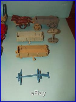 Vintage Marx Civil War / Cavalry Army Horse & Wagon Lot