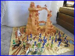 Vintage Marx Comanche Pass Playset- Mountain, Figures, Box, Horses, Accessories