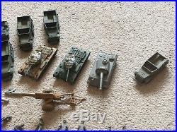 Vintage Marx D Day Battleground Lot 290 Plastic Army Men 22 Vehicle Toy Soldiers