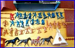 Vintage Marx Fort Apache Lot (32 cowboy indian figures 4 horses Cavalry teepee)