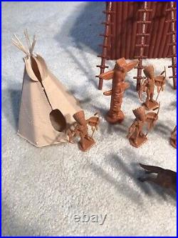 Vintage Marx Fort Apache Playset 1960s Horses Parts Us Cavalry Great Shape