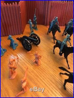 Vintage Marx Fort Apache Playset Complete Great Shape Cowboys Indians