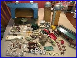 Vintage Marx Happi Time Farm Play Set Barn, Chicken Coop, Huge Lot W Animals