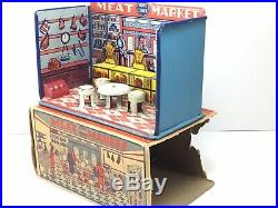Vintage Marx Home Town Meat Market Store Front Tin Litho Playset 1920 withbox