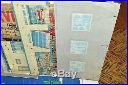 Vintage Marx Modern Service Center Gas Station Tin Litho & Accessories Box