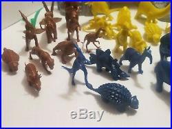 Vintage Marx Prehistoric Playset 28 Dinosaurs, 12 Cavemen Plus Instructions EUC