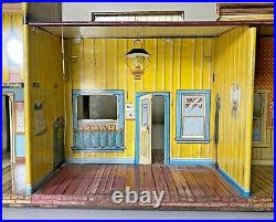 Vintage Marx Roy Rogers Mineral City Western Town Playset Building Tin Litho