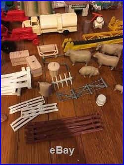 Vintage Marx Sears Farm Play Set W Instructions Animals Barn Tractors Coop Large