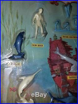 Vintage Marx Toys Skin Diver and Monters of the Deep Blister Card playset RARE
