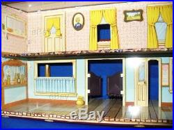 Vintage Marx Western Town Playset Tin Buildings Street Roy Rogers Mineral City