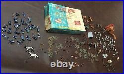 Vintage Original 1963 Louis Marx Playset in Miniature Blue & Gray Armies 100 Pcs