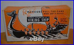 Vintage Renwal Viking Ship Playset 1955 Hard Plastic Toy With Box Marx Soldiers