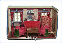 Vintage Retro Louis Marx Newlyweds Parlor Tin Litho Playset From The 1920s
