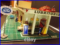 Vintage Tin Toy MARX Service Center Gas Station withAccessories, Figurines & Light
